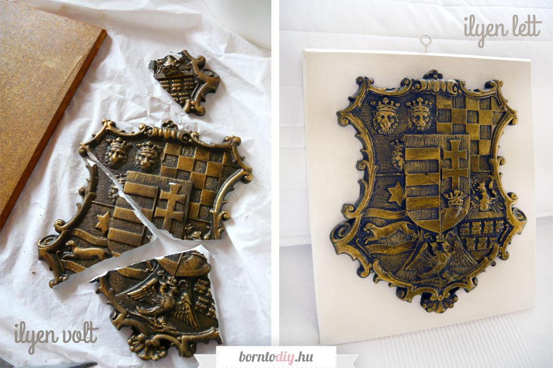 A széttört címer: egy menthetetlennek hitt családi emlék új élete ( törött gipsz dombormű javítása - antik fém hatású festés )