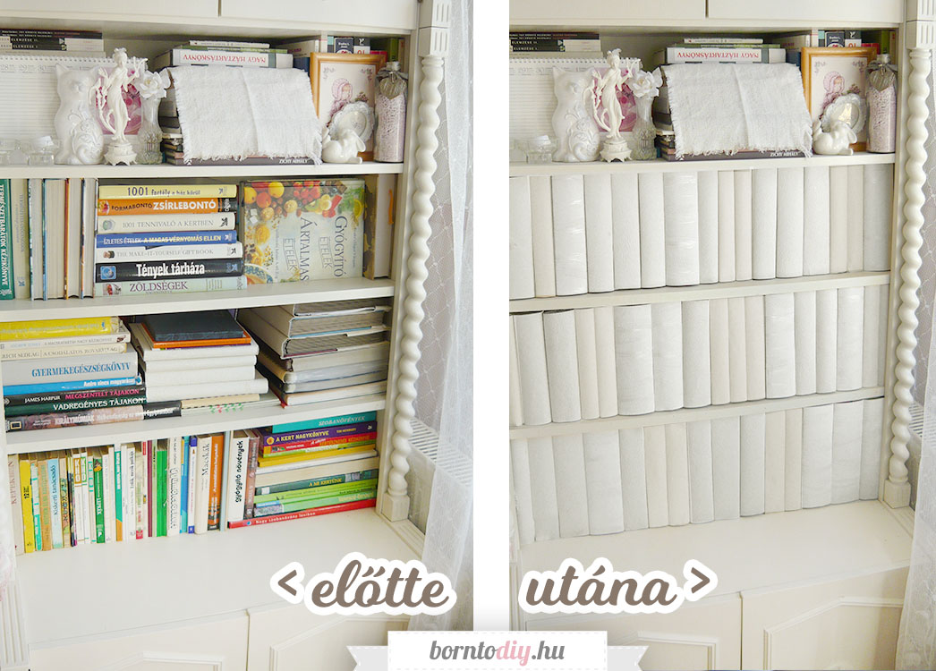 Könyv hatású könyvtakaró (polctakaró) papírból egyszerűen - könyvek és rendetlen polcok eltakarása kreatívan